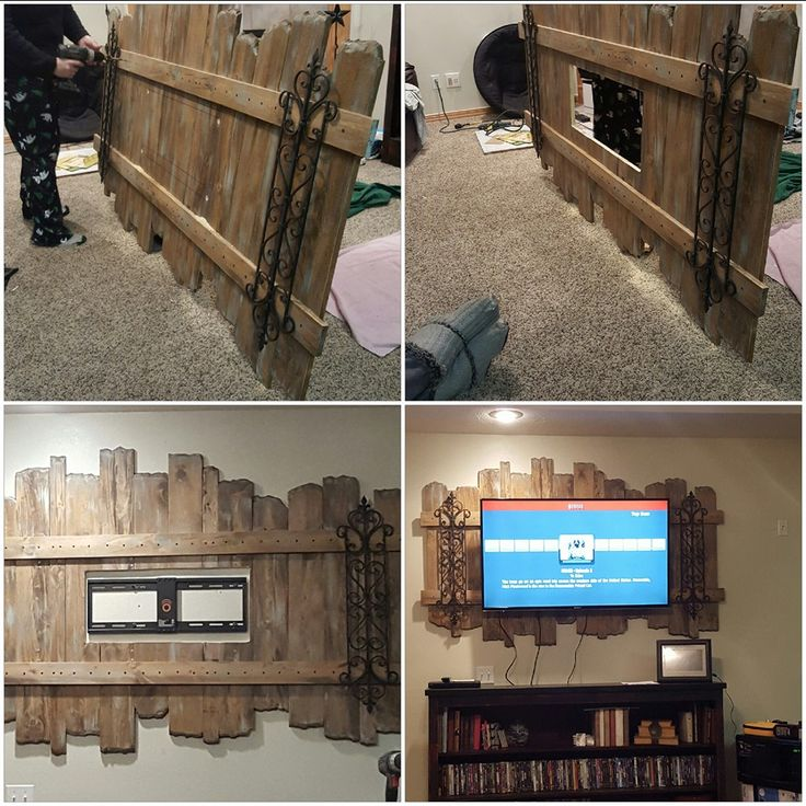 Flat screen TV backdrop frame. Made from salvaged wood and old iron scroll work!