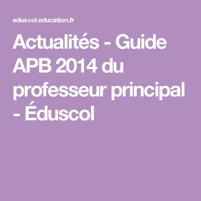 Actualités - Guide APB 2014 du professeur principal - Éduscol