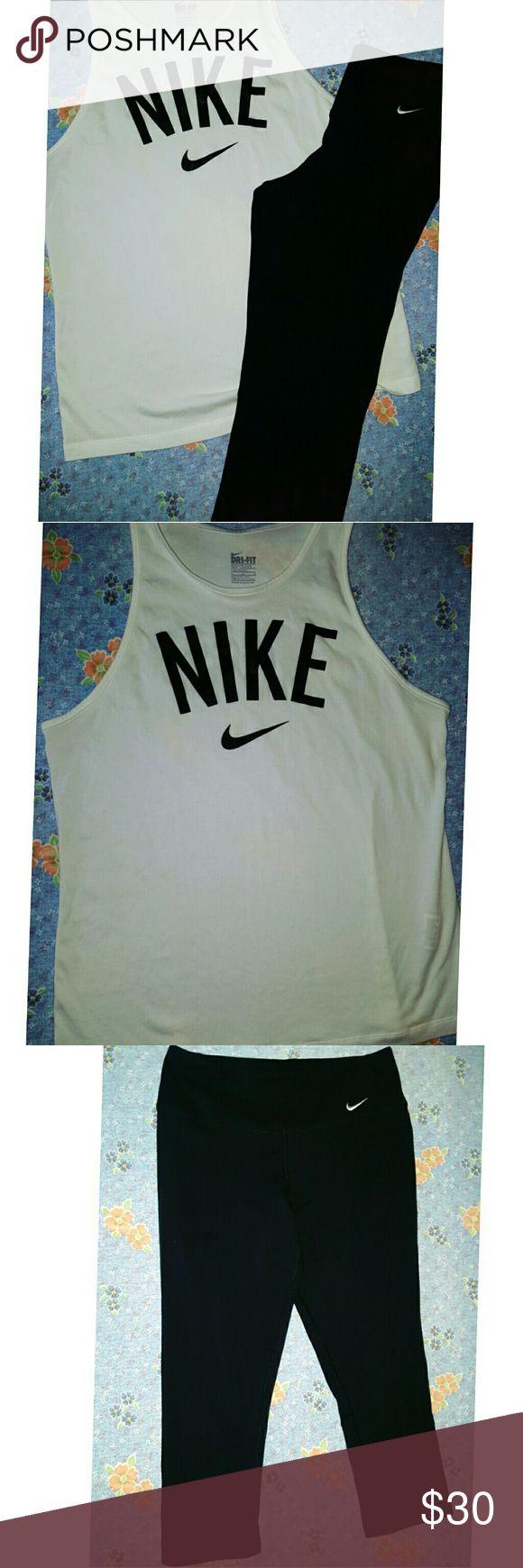 White Nike Tank and Black Nike Yoga Pants White Nike Tank and Black Nike Yoga Pants Nike Tops