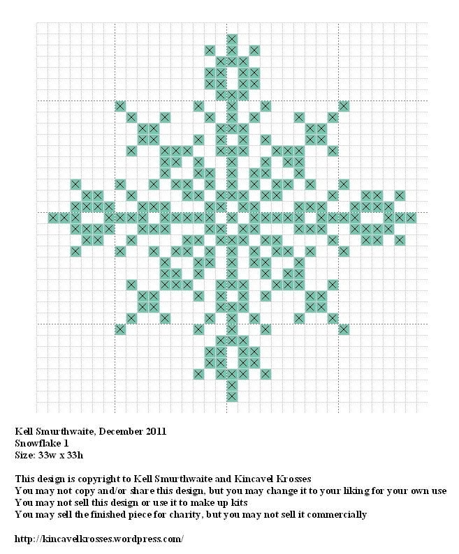 Snowflake 1, designed by @Kelly Teske Goldsworthy Teske Goldsworthy Ingram Smurthwaite from Kincavel Krosses.