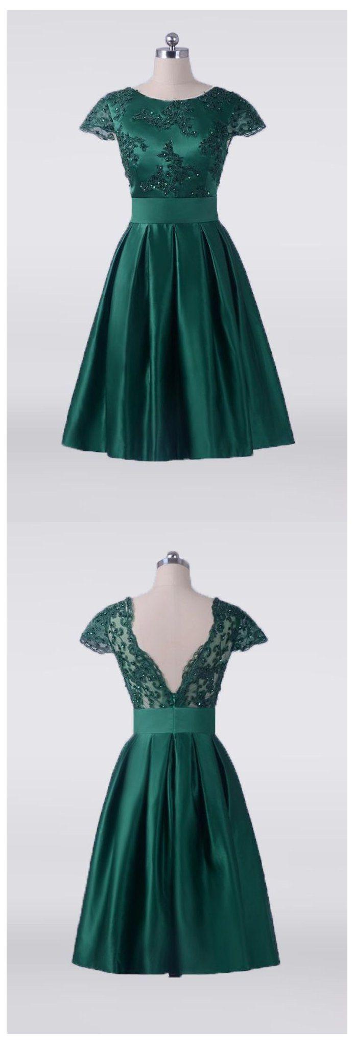 Vintage Emerald Green Short Mother Of The Bride Dress With Cap Sleeves E7949 Gemgra Short Wedding Guest Dresses Green Wedding Guest Outfits Green Prom Dress [ 2040 x 693 Pixel ]