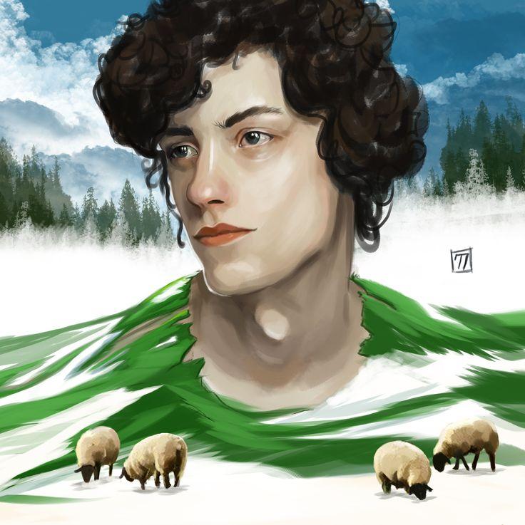by Ceren Demiral #portre #portrait #sheep #illustration #draw #man #digitalpaint #woman #paint