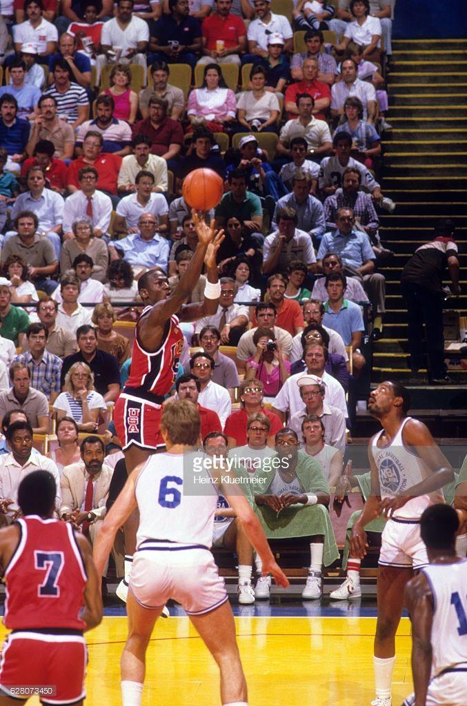 Fotografia de notícias : Team USA Michael Jordan in action, shooting vs...