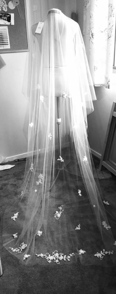 Can't wait to see my Arynvere Bride Diana in her custom designed, lace embellished bridal veil... www.arynverebride.com