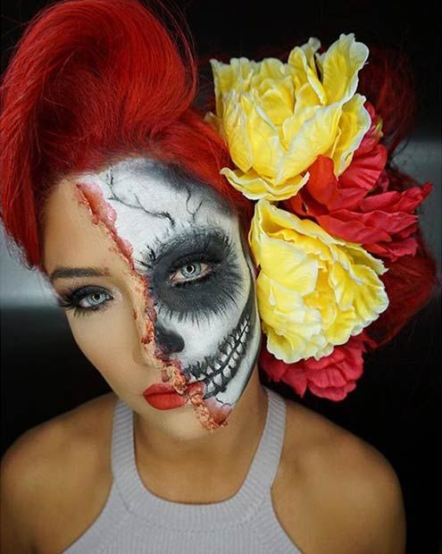 Skeleton + Flowers = Eye-Catching Halloween Costume