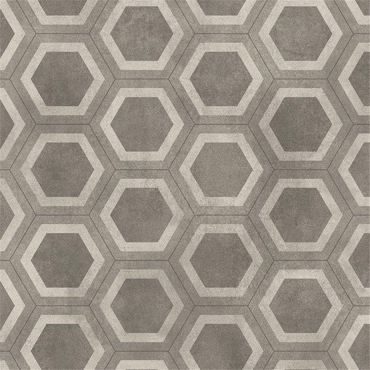 Våtrumsmatta Tarkett Aquarelle Honeycomb Tile Grey - Våtrumsmatta - Plastgolv