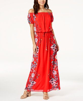 750163051d93 City Studios Juniors  Off-The-Shoulder Maxi Dress - Dresses - Juniors -  Macy s