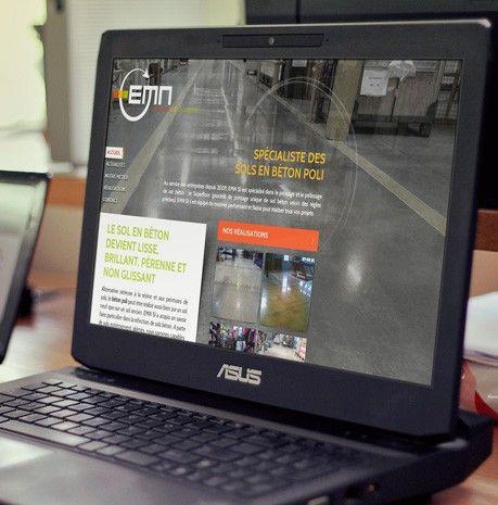 Création du site Internet et habillage d'un véhicule pour la société EMN Superfloor au métier très spécifique (l'obtention de sols en béton poli), qui opère dans la France entière. #Siteweb #Visibilité