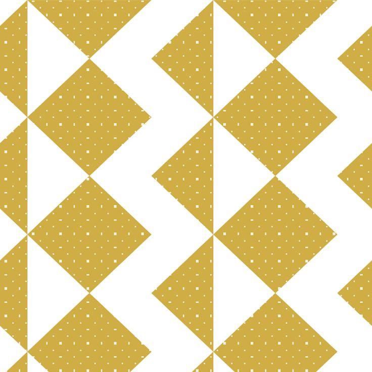 Roomblush behang wallpaper zigzag mustard behangpapier woonkamer slaapkamer interieur design muurdecoratie