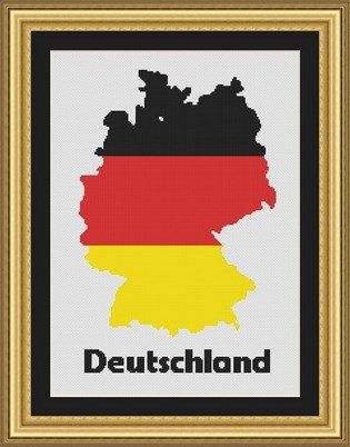 DEUTSCHLAND/germany map-Counted cross by LudivinePointDeCroix