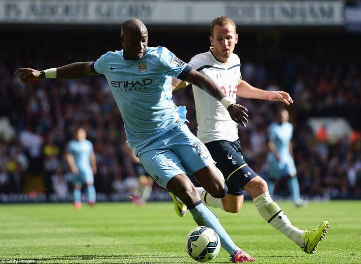 City centre back Eliaquim Mangala gets the better of Tottenham striker Harry Kane during S...