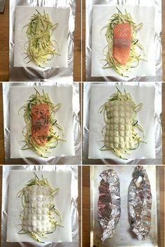 Papillotes de saumon aux courgettes & ravioles du dauphiné