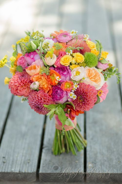 Bridal Bouquets and Wedding Flowers: Pink, Yellow and Green Bouquet #weddingbouquets