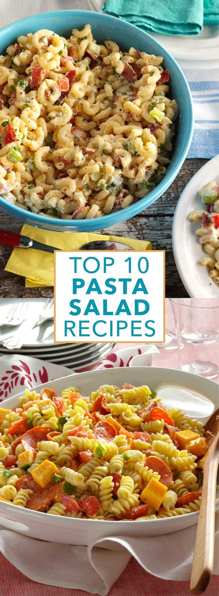 Top 10 Pasta Salad Recipes from Taste of Home |  Serve these top-rated pasta salad recipes at summer cookouts, potlucks and parties. Filled with bacon, veggies, chicken and more ingredients, guests will love these crowd-pleasing pasta salads.