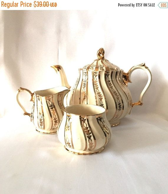 ON SALE SADLER Teapot Set vintage cream and by GlyndasVintageshop