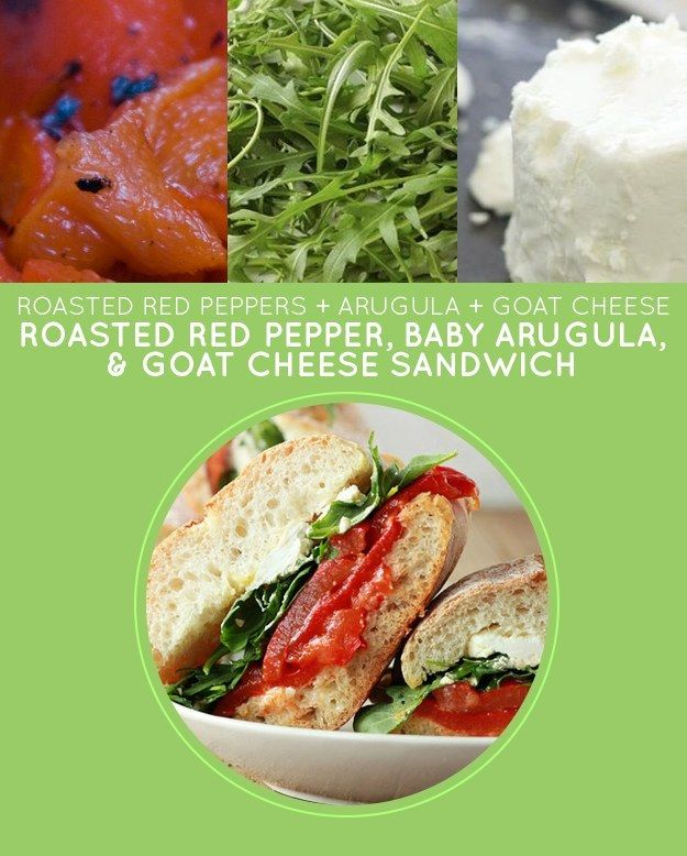 Roasted Red Pepper, Baby Arugula, & Goat Cheese Sandwich - Another sandwich simplified by pre-roasted red peppers, this recipe is perfect for kids. (Arugula too spicy for the youngin'? Go with spinach, romaine, or whatever you have in the fridge.) http://www.kitchentreaty.com/roasted-red-pepper-baby-arugula-goat-cheese-sandwiches-with-optional-bacon/