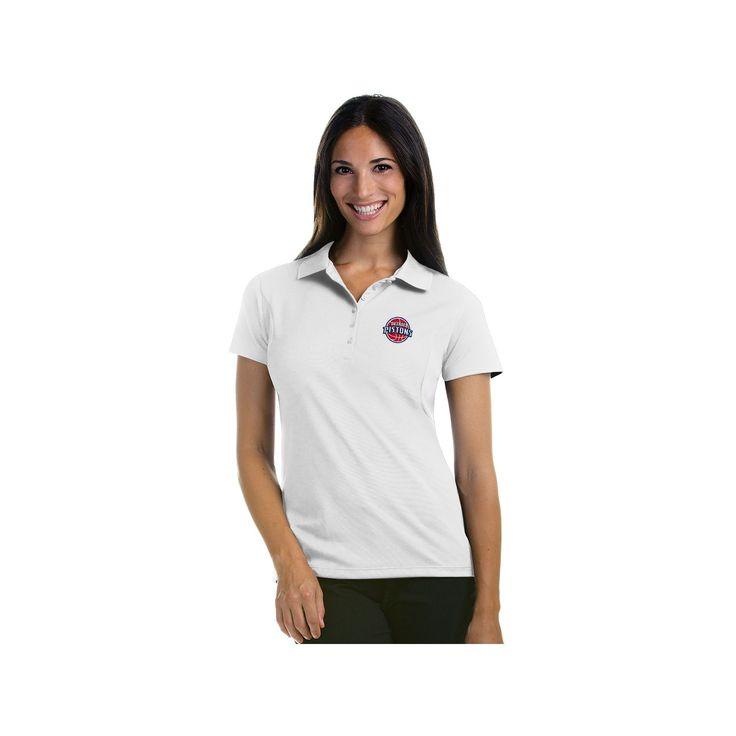 Women's Antigua Detroit Pistons Pique Xtra-Lite Polo, Size: Large, White