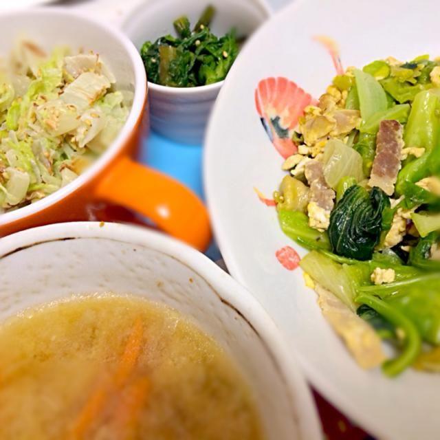 今日も野菜尽くしです⭐️ - 8件のもぐもぐ - 野菜炒め、白菜サラダ、春菊のナムル、お味噌汁 by akarizumu