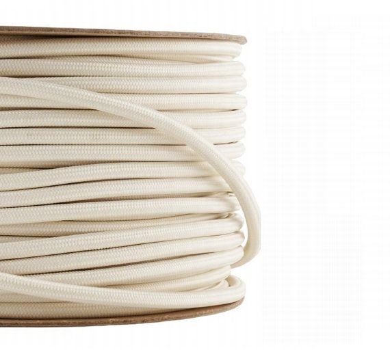 Fabric Textile cable wire for Lighting Round 2x0.75 in WHITE