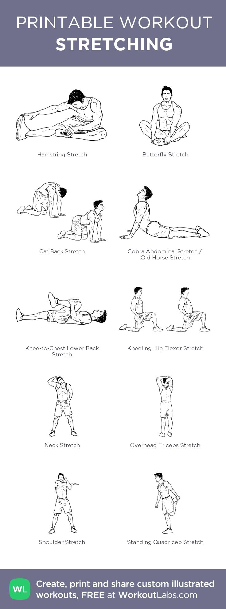 STRETCHING: my visual workout created at WorkoutLabs.com • Click through to customize and download as a FREE PDF! #customworkout