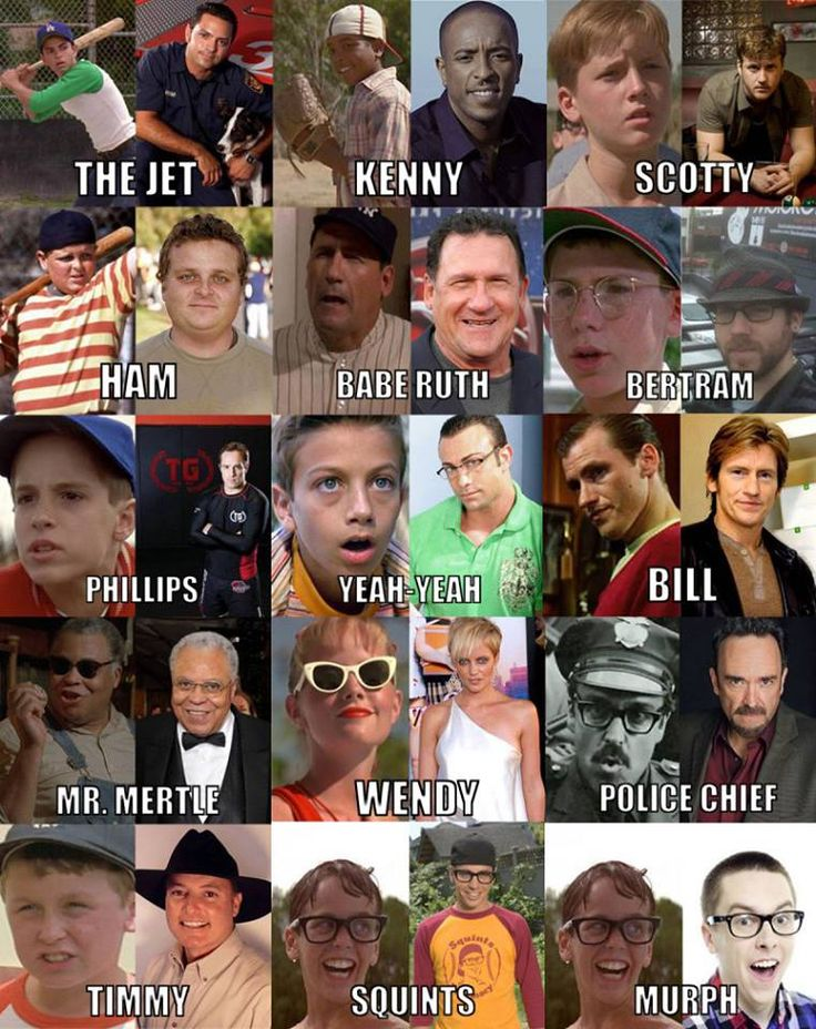 Cast of The Sandlot, then and now. Yes, Wendy Peppercorn is still good looking.