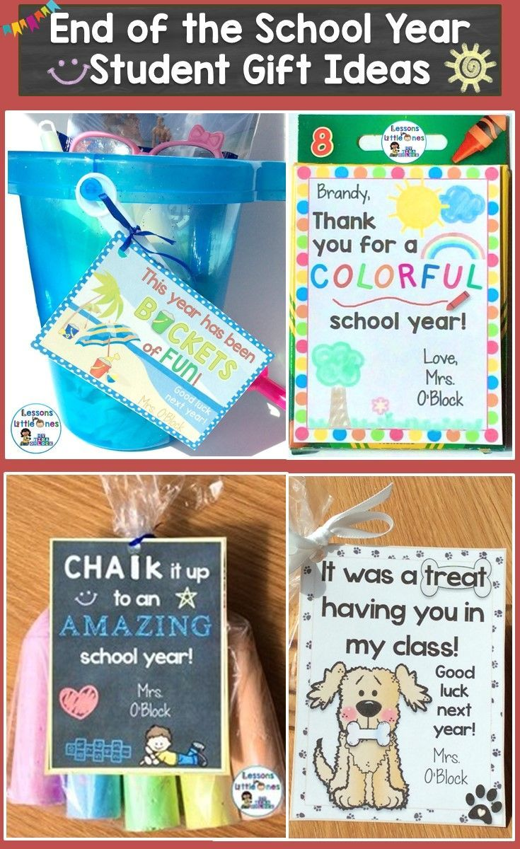 15+ ideas for creative & inexpensive end of the school year student gifts and gift tags. https://lessons4littleones.com/2016/04/13/end-of-the-year-student-gifts-gift-tags/