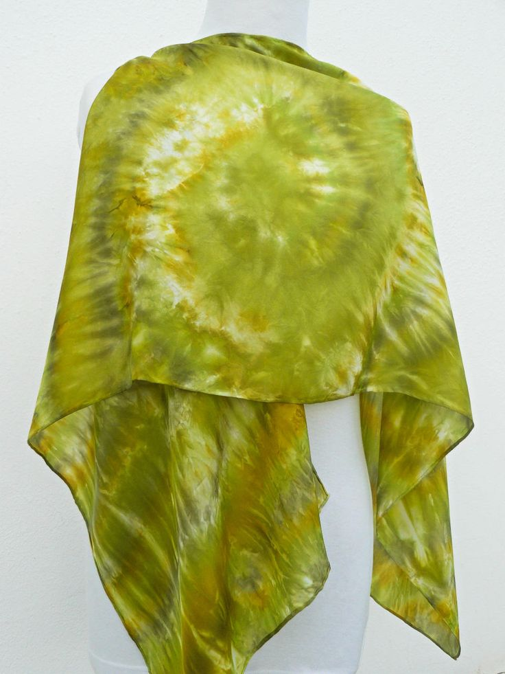 Green silk scarf hand painted gold moss white pure silk scarf Abstract stripes ans swirl green colours scarf OOAK painted natural silk  100% by Irisit on Etsy