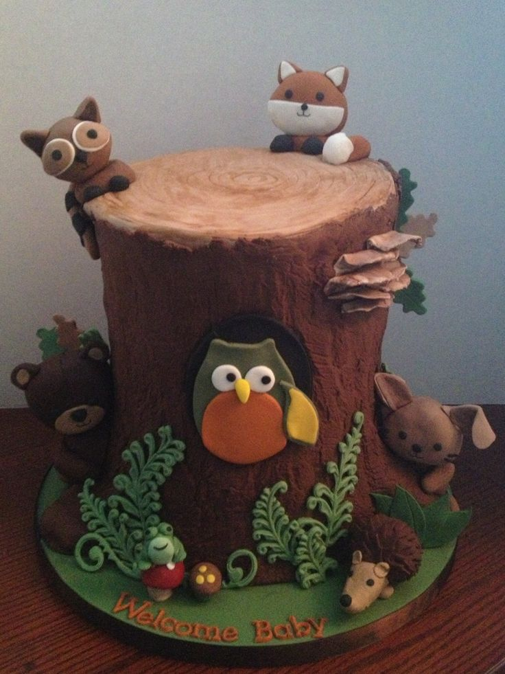 - Baby shower cake designed to match the baby's nursery bedding ( Echo by Lambs & Ivy ) . All fondant , animal heads are rice krispy treat.