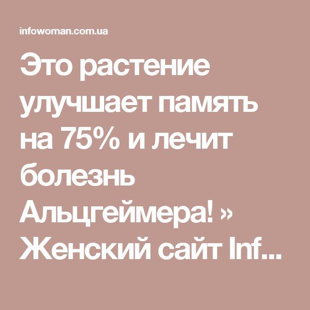 Это растение улучшает память на 75% и лечит болезнь Альцгеймера! » Женский сайт InfoWoman.com.ua. Полезные советы для женщин