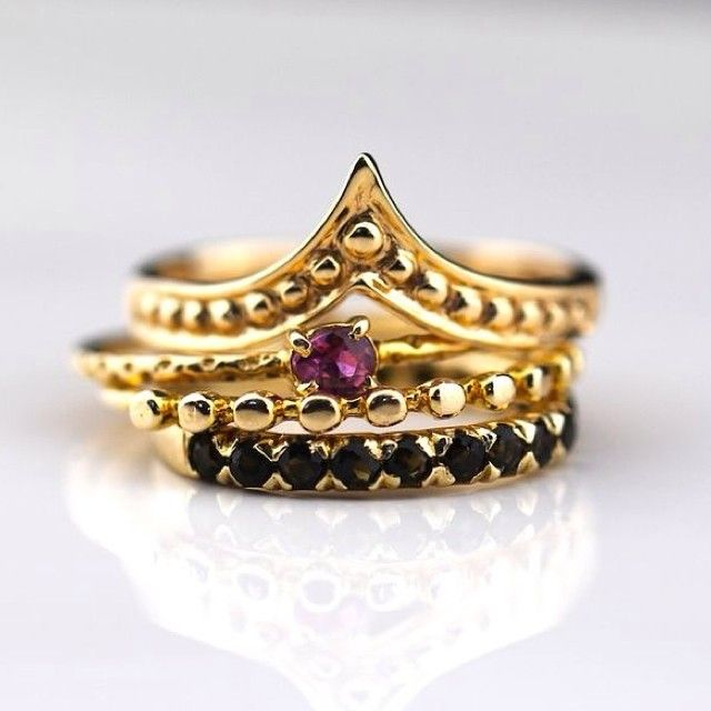 Golden stack featuring the new Temple Ring!