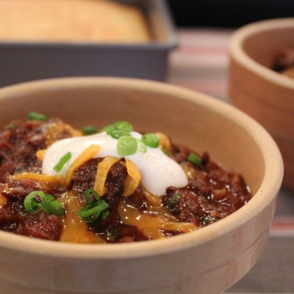 Instead of ground beef, try slow cooking some boneless beef chuck for your chili. Everyone will be coming back for more.