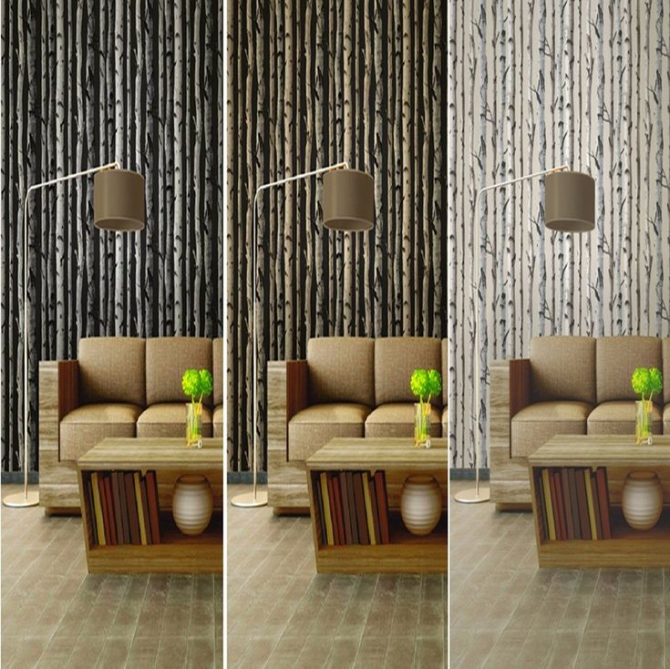 Interior Exquisite Birch Tree Woods Branches Jungle Forest Wallpaper Idea For Natural Theme