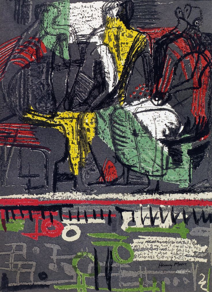 'Three standing figures' (1943) screen print by Henry Moore. Limited edition of 65 from Gray Modern & Contemporary Art