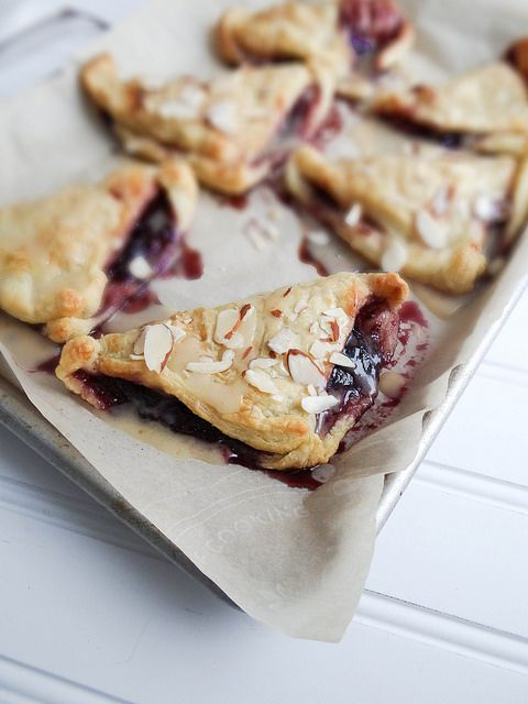 blueberry turnovers with maple miso drizzle