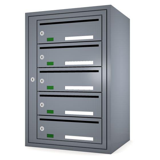 Svenskboxen 1x5  Article number:   SVB15-9995-1000    En komplett postbox med marknadens högsta säkerhetsklass. Svensk-boxen är förberedd för ellåsinstallation som standard och uppfyller användbarhetskraven från Bygg klokt för personer med funktions-nedsättningar.        * Svenskboxen är den enda postboxen på marknaden som erhållit den högsta säkerhetsklassen (säkerhetsklass II) vilket innebär att den motstår inbrottsförsök bäst av alla boxar.