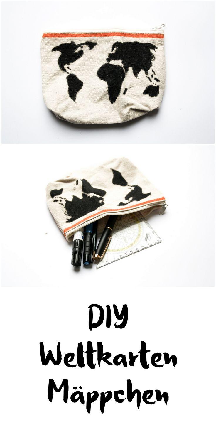 schereleimpapier: DIY Accessoire Mäppchen mit Weltkarte basteln || Geschenk || Office Organisation || Tasche || DIY handmade pencil case || crafting