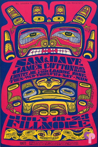 Classic Poster - Sam and Dave James Cotton Blues Band  at Fillmore Auditorium 7/18-23/67 by Bonnie MacLean jul