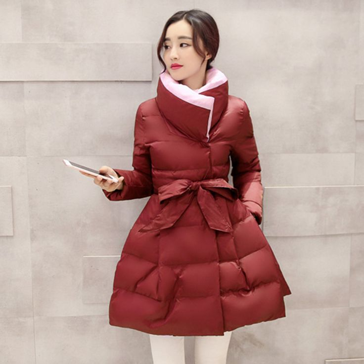 Plus Size Winter Jacket Women 2016 Fashion Down Coat Women Long Waist Bow Fluffy Skirt Cotton on http://ali.pub/02w36