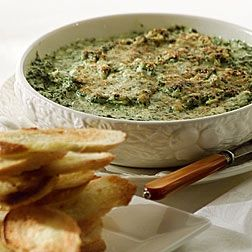 Spinach Artichoke Dip--but with creamy mascarpone, goat cheese and parmesan. Serve with hot, crusty French bread. Click for the #recipe. #footballDips Dresses, Cheese Dips, Puck Spinach, Spinach Artichoke Dip, Spinach Dips, Dips Recipe, Hot Dips, Spinach Artichokes Dips, Dip Recipes