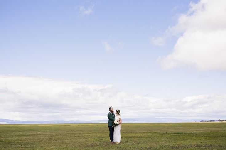 Bride and groom on Lake George near Canberra
