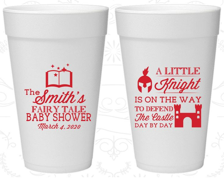 Little Knight is on the way, Styrofoam Cups Baby Shower ...