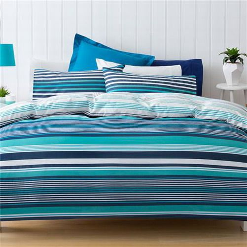 Stay warm and cosy during those chilly nights, and light and fresh during the coming Spring and Summer days with this modern, calming striped 'Florida' quilt cover set.    Buy Now from Beautiful Bella's Boutique online: http://www.ebay.com.au/itm/181901314738?var=&ssPageName=STRK:MESELX:IT&_trksid=p3984.m1555.l2649
