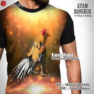 Kaos Ayam Bangkok, Wiring Kuning, Kaos3D, Kaos Ayam Jago, Ayam Aduan Juara, Kaos3DBagus, Kaos Binatang, Animal, https://instagram.com/kaos3dbagus, WA : 08222 128 3456, LINE : Kaos3DBagus