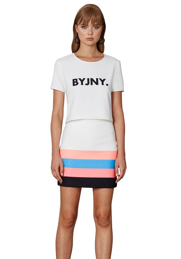 BY JOHNNY. Neon Stripe Mini Skirt | Contemporary Australian Womenswear