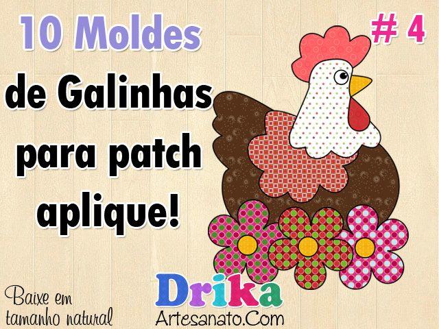 10 Moldes de galinhas e galo para patch aplique!