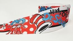 """1 Yard - 3"""" inch hats off Dr. Seuss Cat in the Hat - Printed Grosgrain Ribbon for 3 inch Cheer Hair Bow"""