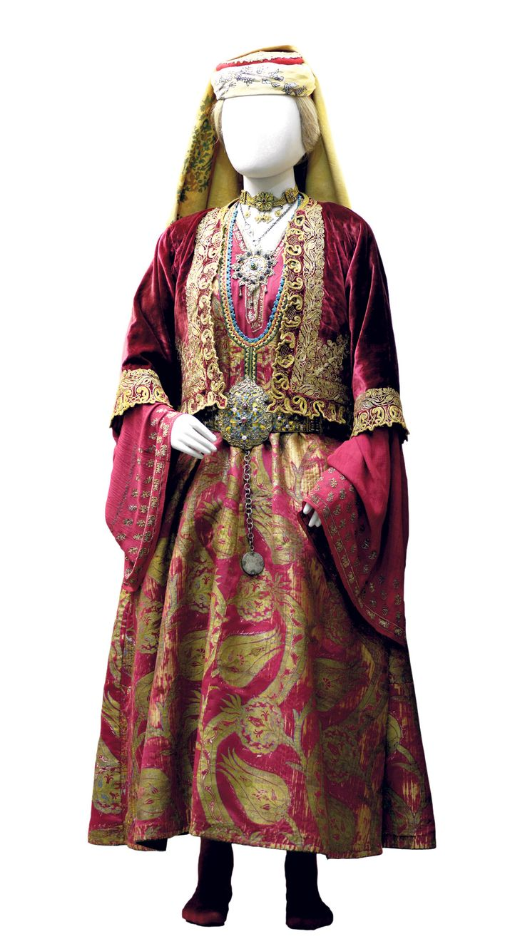 Bridal Costume of Thassos made with 16-17th century bursa gold-woven fabric