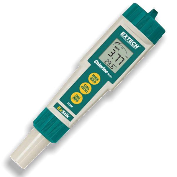 http://www.termometer.se/Klormatare-totalt-klor-Exstik-CL200.html  Klormätare - totalt klor Exstik CL200 - Termometer.se  Med en digital klormätare behöver du inte gissa mellan en massa olika färger som är brukligt med de reagens som du brukar använd. Här går det enkelt, snabt och exakt med den digitala klormätaren för totalt klor...