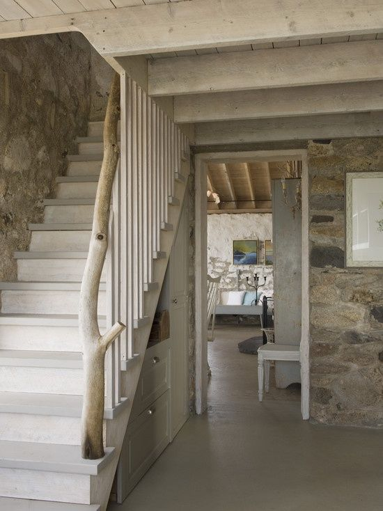 I love everything here. The stone walls, the warm grey flooring...Spaces Whitewashed Pine Design, Pictures, Remodel, Decor and Ideas - page 9