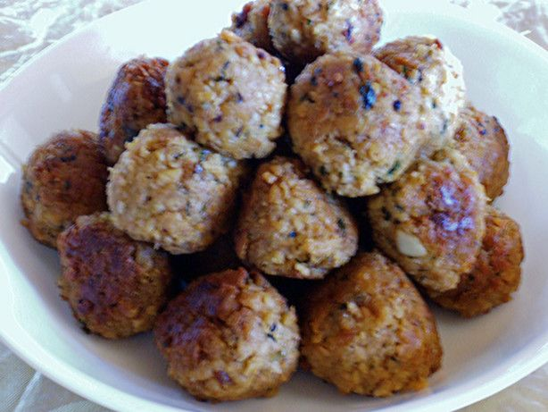 I got this recipe from Cooks.com.  Personally I think Id like these meatballs a tad spicier. I used a nut oil instead of canola to fry the onion and garlic.  I then used olive oil to fry the meatballs.
